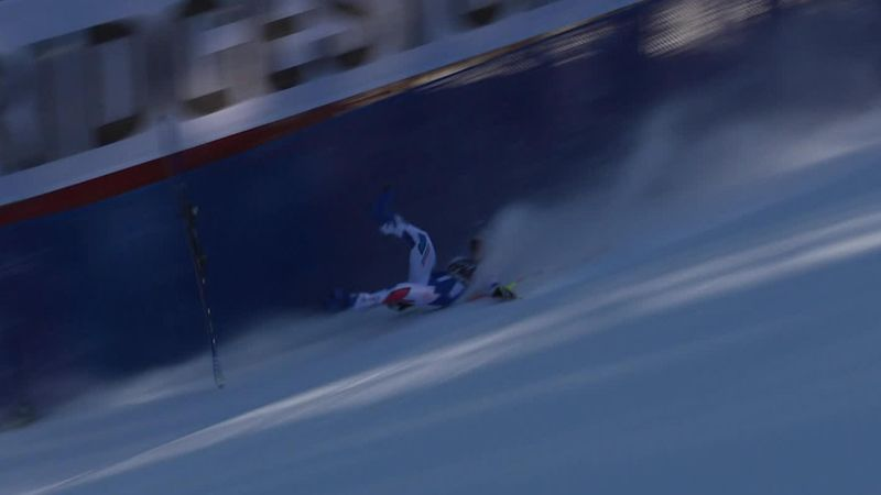 Bailet's ski catapults away in spectacular crash