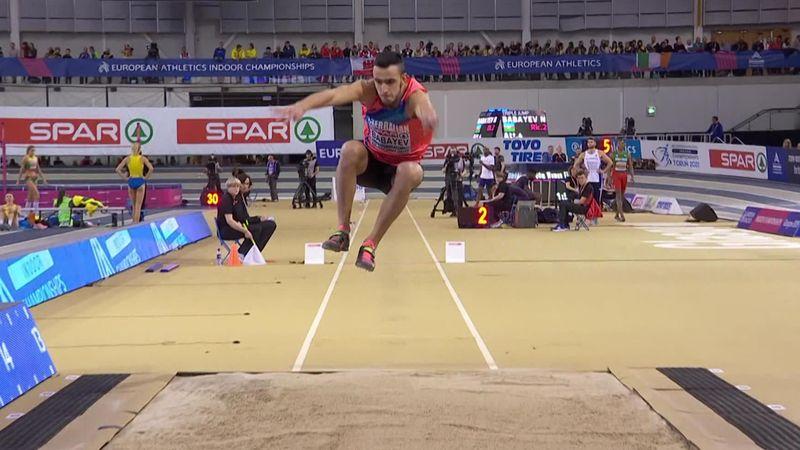 Победная попытка Бабаева, принесшего Азербайджану золото в тройном прыжке
