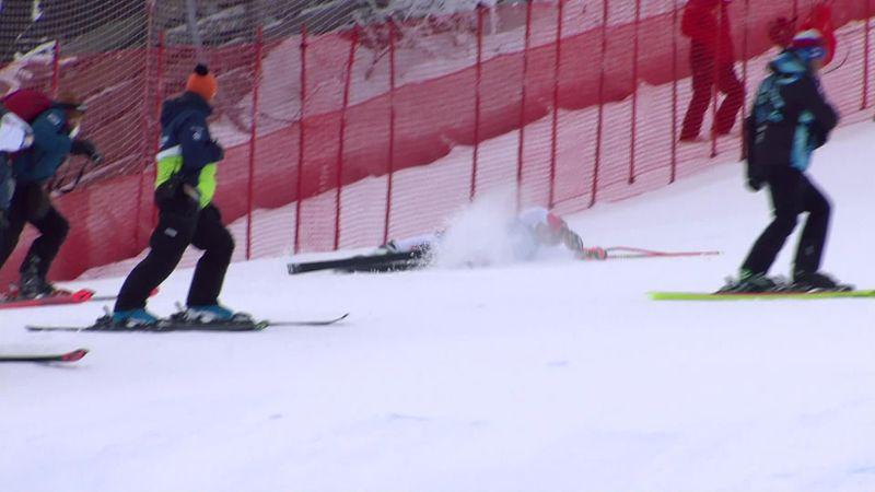 Жесткое падение швейцарской горнолыжницы