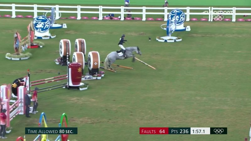 'That'll be elimination!' - Nightmare fall in pentathlon before horse runs away