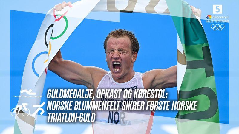 Stor norsk triatlon-triumf: Hårdt påvirket Blummenfelt sikrer guldet med flere meters forspring