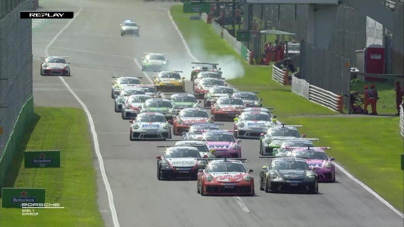 Porsche Super Cup: contatto Sager-Mateu in partenza, che botto!