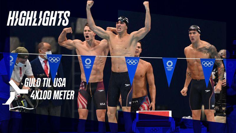 Highlights: Dressel vandt sin femte OL-guldmedalje i USA-triumf ved mændenes 4x100-meter