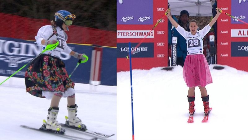 Two alpine skiers tackle slalom in a dress - but who did it better?