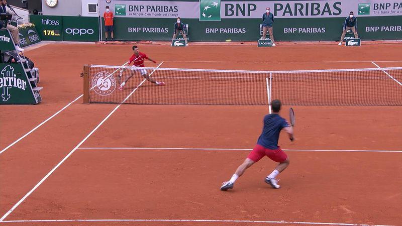 Djokovic races around court to edge Berankis in great point