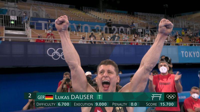A meglepetés ezüstöt érő korlátgyakorlat a német Lukas Dausertől