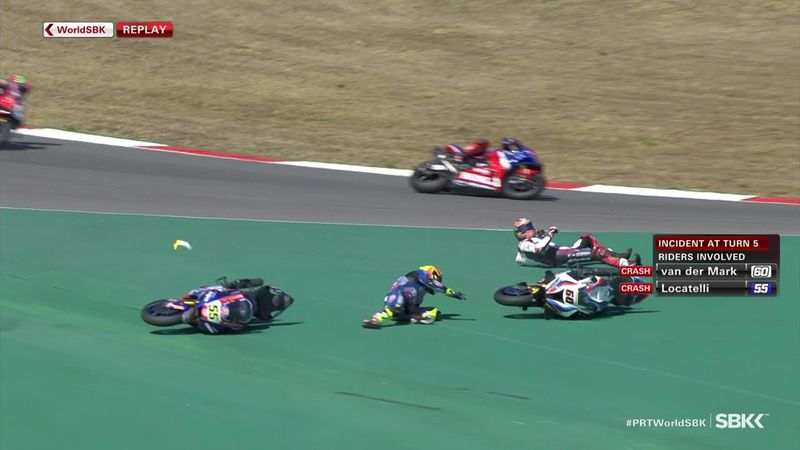 Van der Mark and Locatelli crash out, and then have to go and chase their bikes!