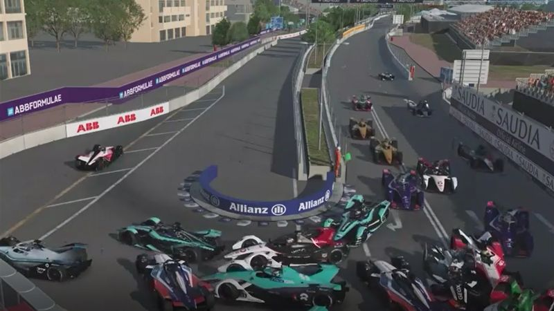 Massencrash am Start beim virtuellen Formel-E-Rennen in Hongkong