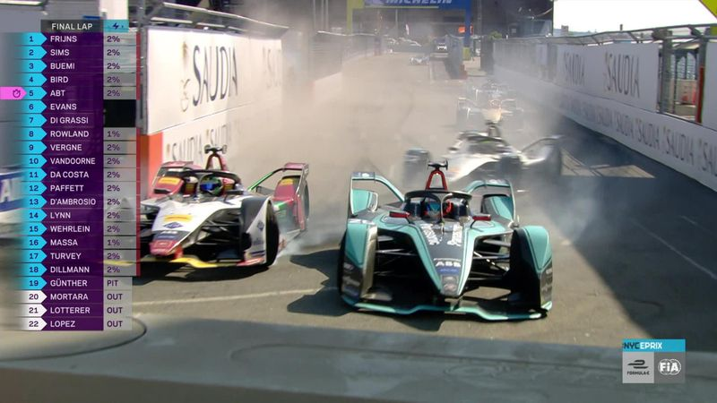 Crashes and chaos in last lap of New York City ePrix as Vergne takes title