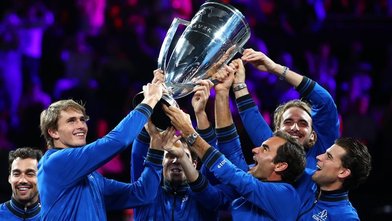 Team Europe lift the Laver Cup trophy after securing hat-trick of wins