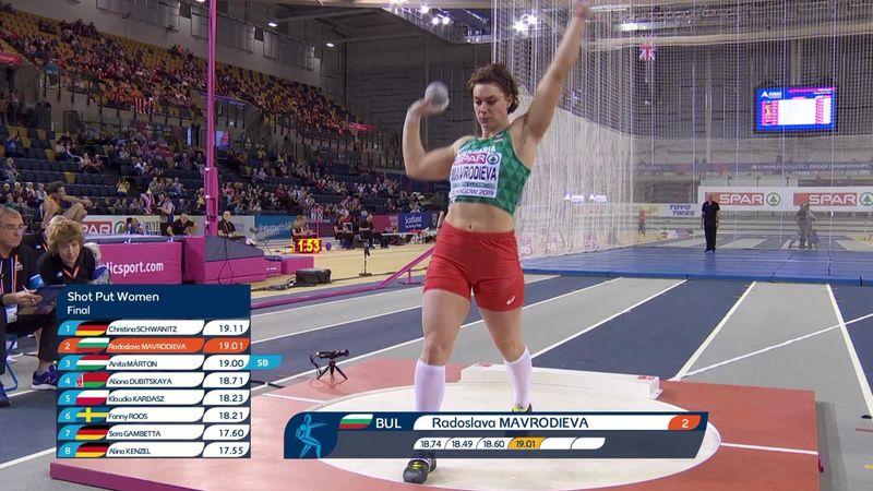 EK Indoor | Mavrodieva wint goud op kogelstoten