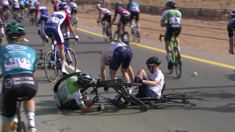 Saudi Tour: stage 5 - Andreas Lorentz Kron's crash