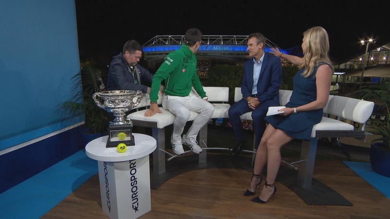 Australian Open: Novak DJOKOVIC walking in the corridor to the EUROSPORT STUDIO