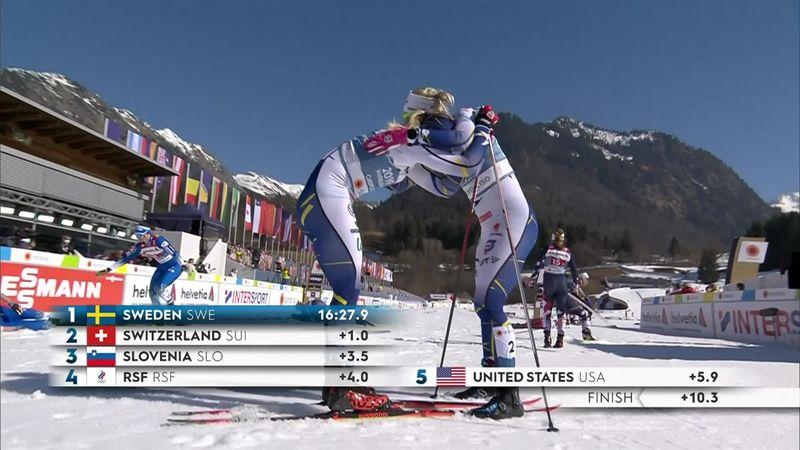 Suecia se lleva el oro en el esprint femenino por equipos