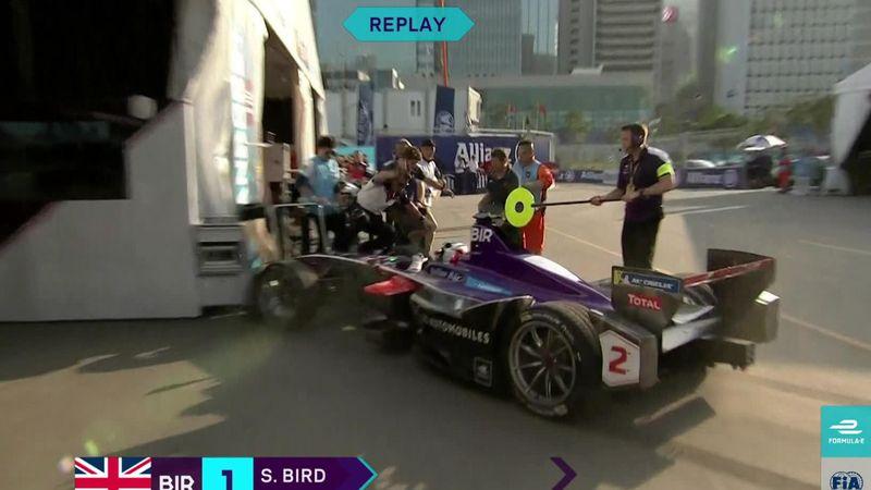 Lucky escape as Formula E star Bird ploughs into team at pit stop