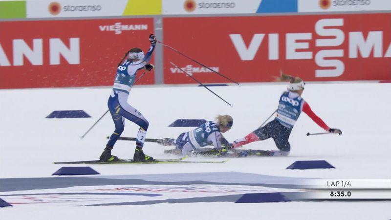 Enganchada de campeonato entre dos rivales en el Skathlon femenino
