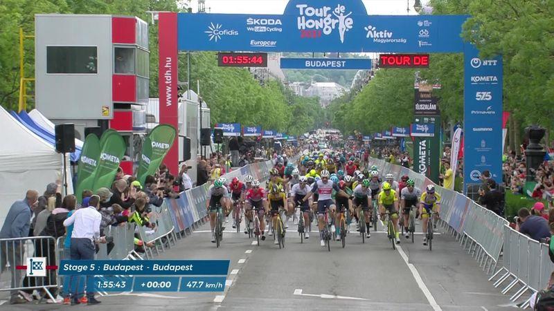 Edward Theuns gana la quinta etapa del Tour de Hungría en un apasionante esprint