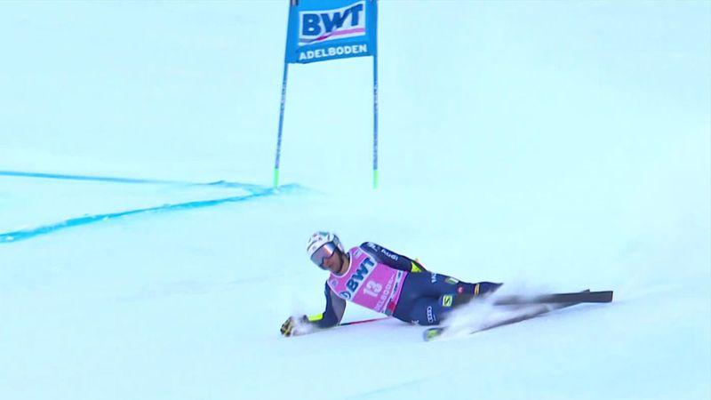 Esquí, Descenso: De Aliprandini acaba entre lágrimas cuando luchaba por el triunfo en Adelboden