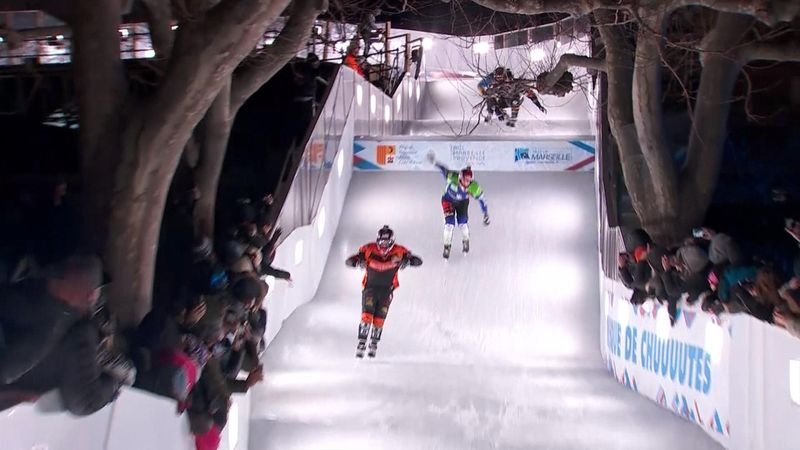 Cameron Naasz, Jacqueline Legère win Crashed Ice races in Marseille