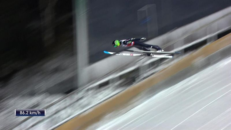 Domen Prevc's large hill jump in Ruka