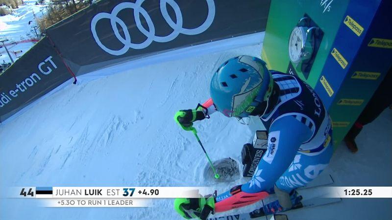 Эстонец потерял обе лыжи во время спуска и финишировал на попе