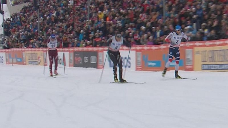Watch the dramatic photo finish in Men's 50km Cross Country race