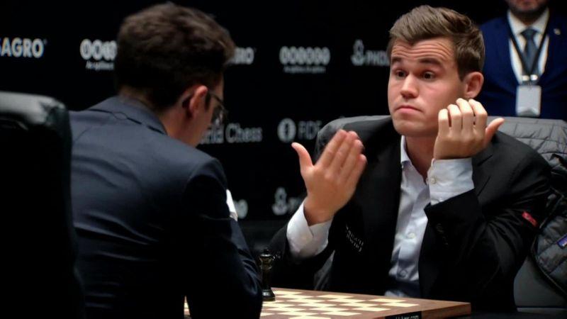 Schaaktweekamp | Highlights 1e WK-partij Magnus Carlsen - Fabiano Caruana