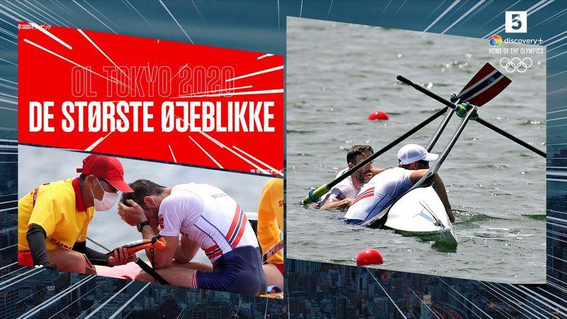 Største øjeblikke: Norsk doublescullerbåd kæntrer i semifinalen til kommentator-duos store ærgrelse