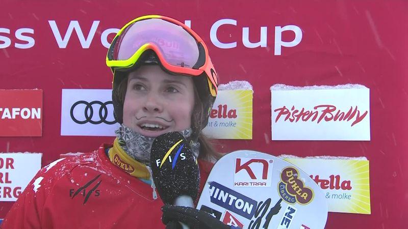 Snowboard cross: Montafon - Women's big Final - Interview winner Samkova