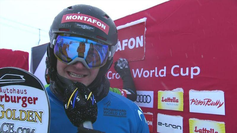 Snowboard cross:  Montafon - Men's big Final - Interview winner Haemmerle