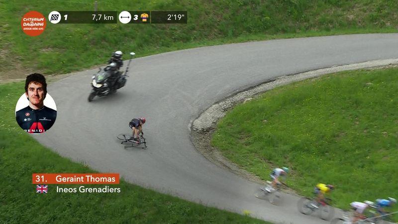 La caída que no pasó a mayores de Geraint Thomas en la Dauphiné