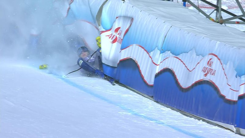'A heavy hit!' - Skier in dramatic crash at finish line