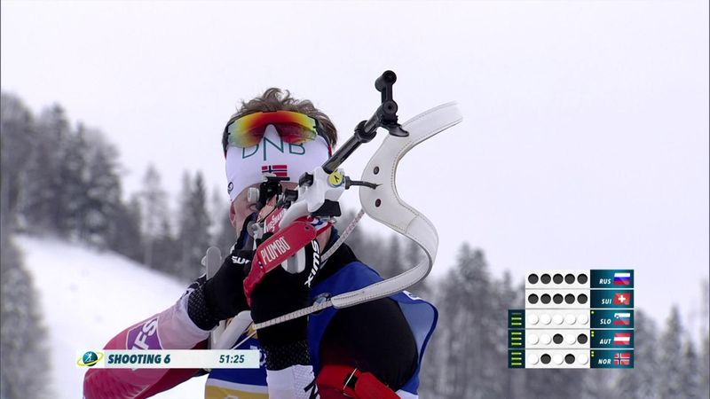Suecia vence a Noruega en el relevo masculino de Hochfilzen