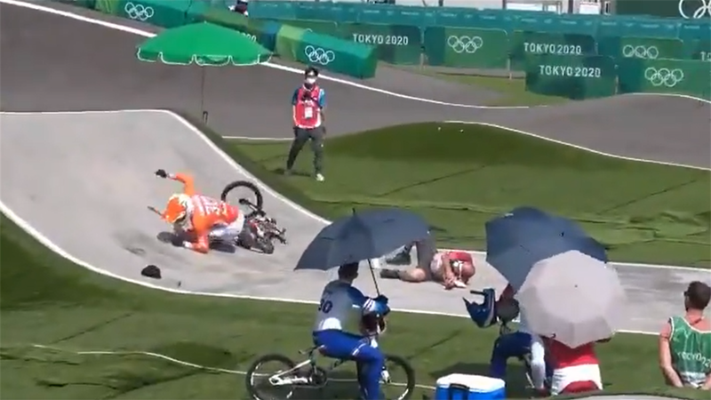 Tokyo 2020: 'Watch out!' - Nightmare crash as BMX rider hits hapless Tokyo official