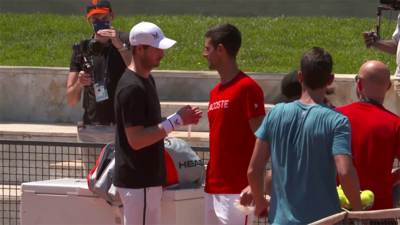 Watch Murray and Djokovic train together in Rome