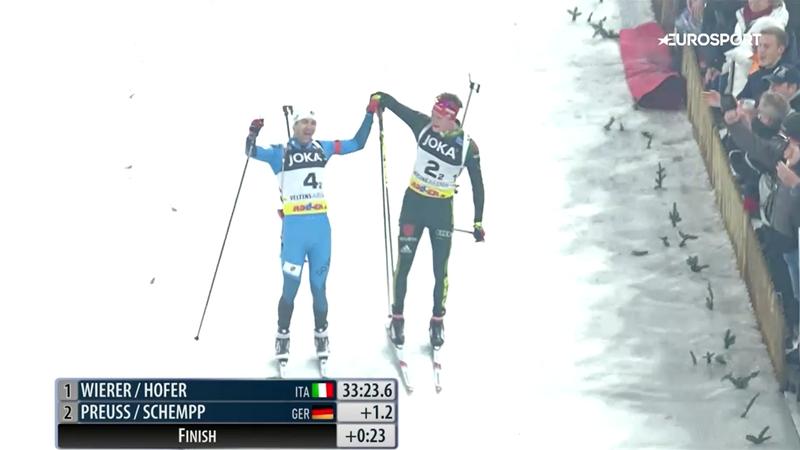 Долль финишировал за руку с Бьорндаленом и отдал Уле с Домрачевой бронзу Рождественской гонки
