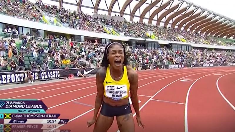 Watch Thompson-Herah run second-fastest ever women's 100m