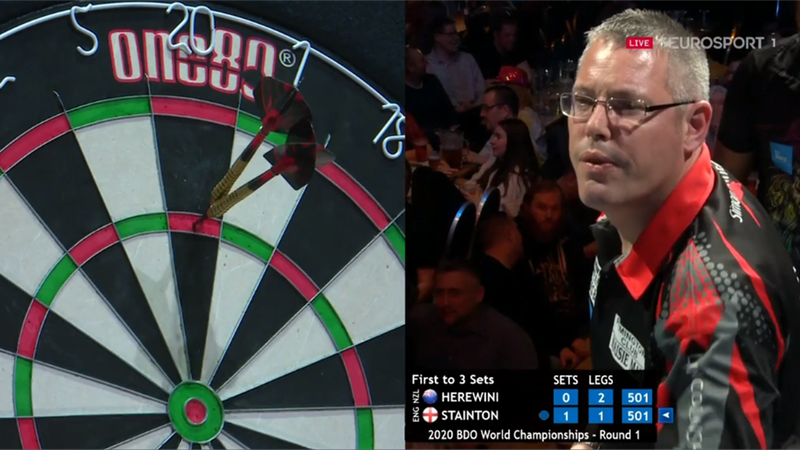 Simon Stainton makes the maximum... much to the delight of the BDO crowd