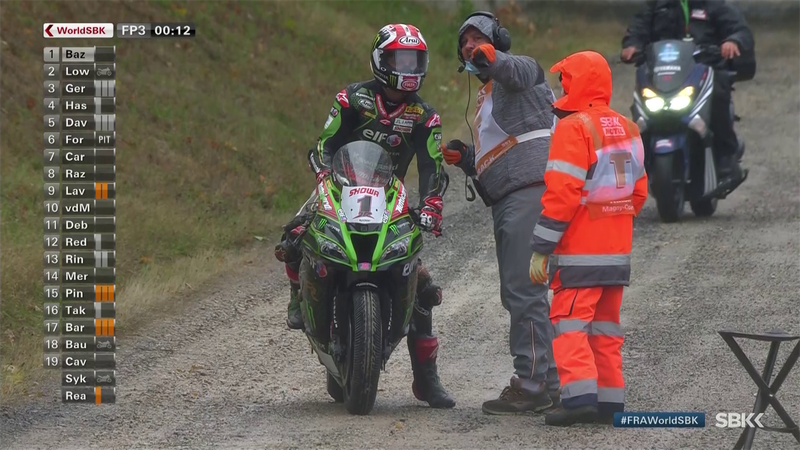 Jonathan Rea takes it off road after crashing in Free Practice 3