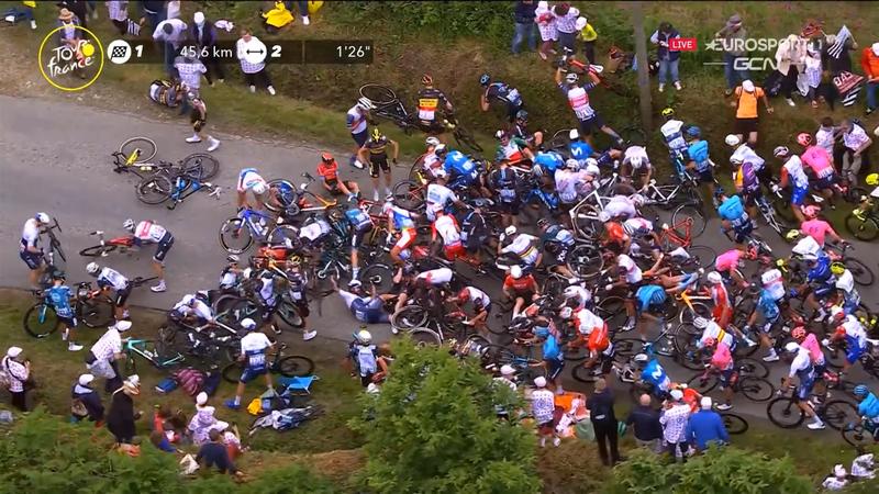 Haos în prima etapă din Turul Franței! Un spectator a provocat o căzătură cumplită