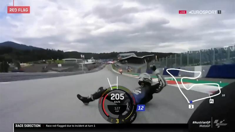 MotoGP Styria | Vinales springt met 200 per uur van motor na verlies remmen
