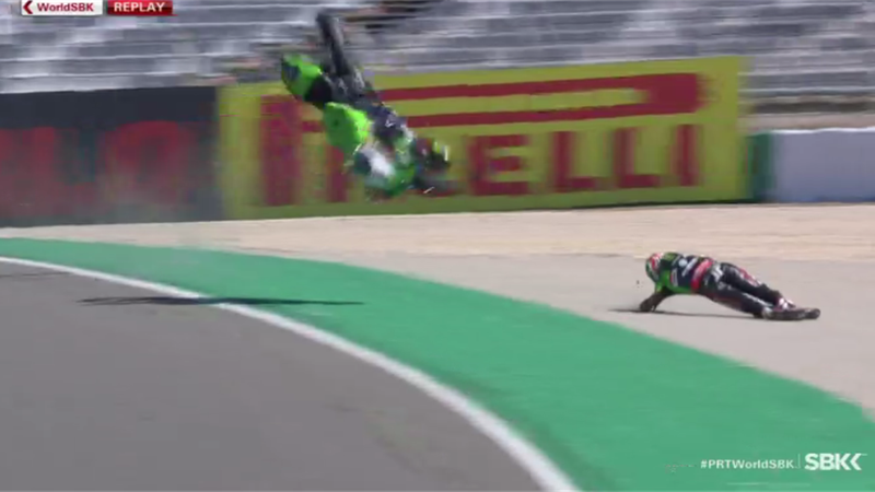 WATCH - Rea involved in HUGE crash in Race 1 in Portugal