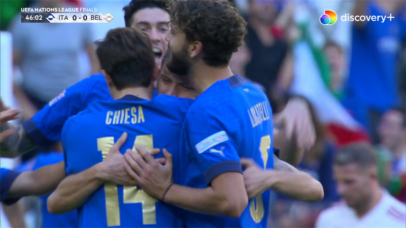 Barella klasker Italien foran i bronzekampen!